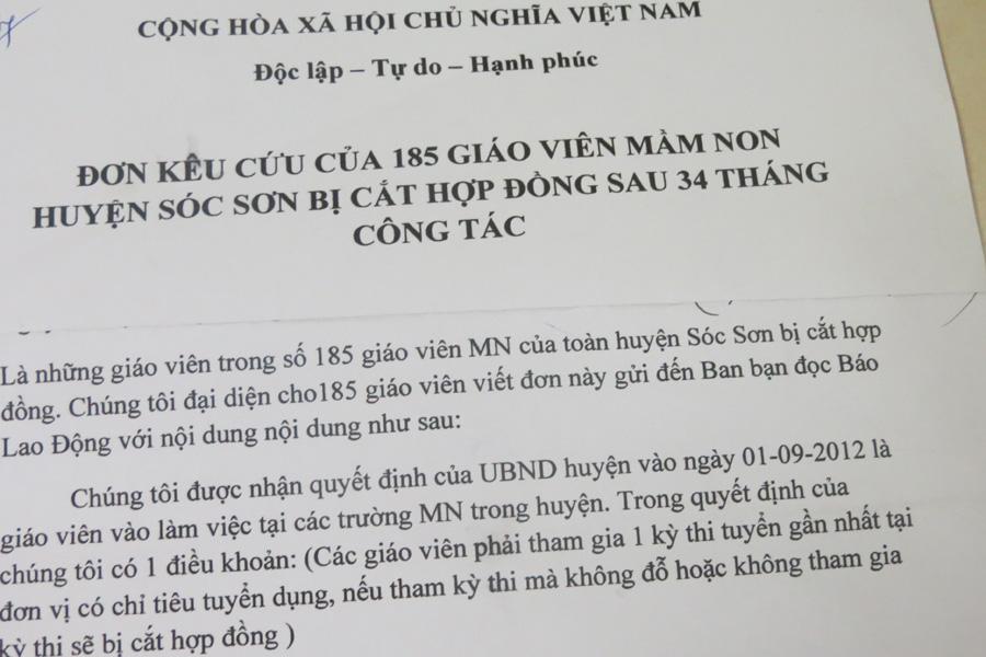 185 Giáo viên mầm non huyện Sóc Sơn đột nhiên bị chấm dứt hợp đồng