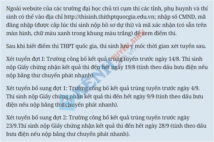 Cong bo ket qua thi THPT Quoc gia 2016