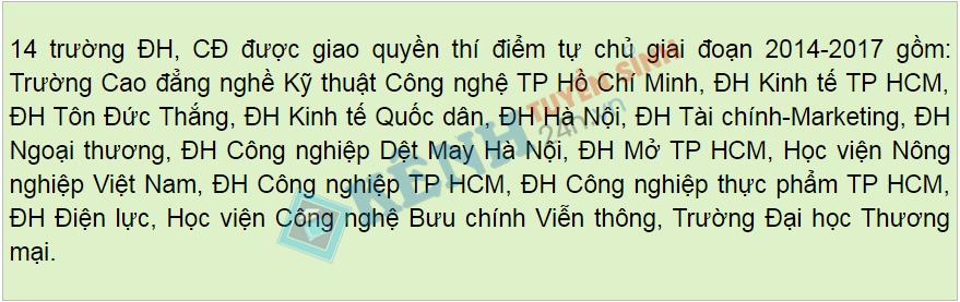 danh sach 14 truong dai hoc tu chu giai doan 2014 2017