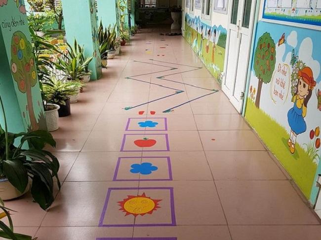 không gian ngoài lớp học trường mầm non đại học Vinh